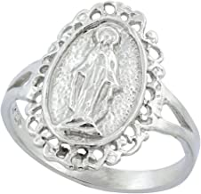 Sterling Silver Virgin Mary Miraculous Medal Ring 11/16 inch Wide, Sizes 6-9