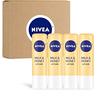 Nivea Milk & Honey Lip Care - Moisturized Lips All Day - 0.17 Oz. Tube - 4 Pack