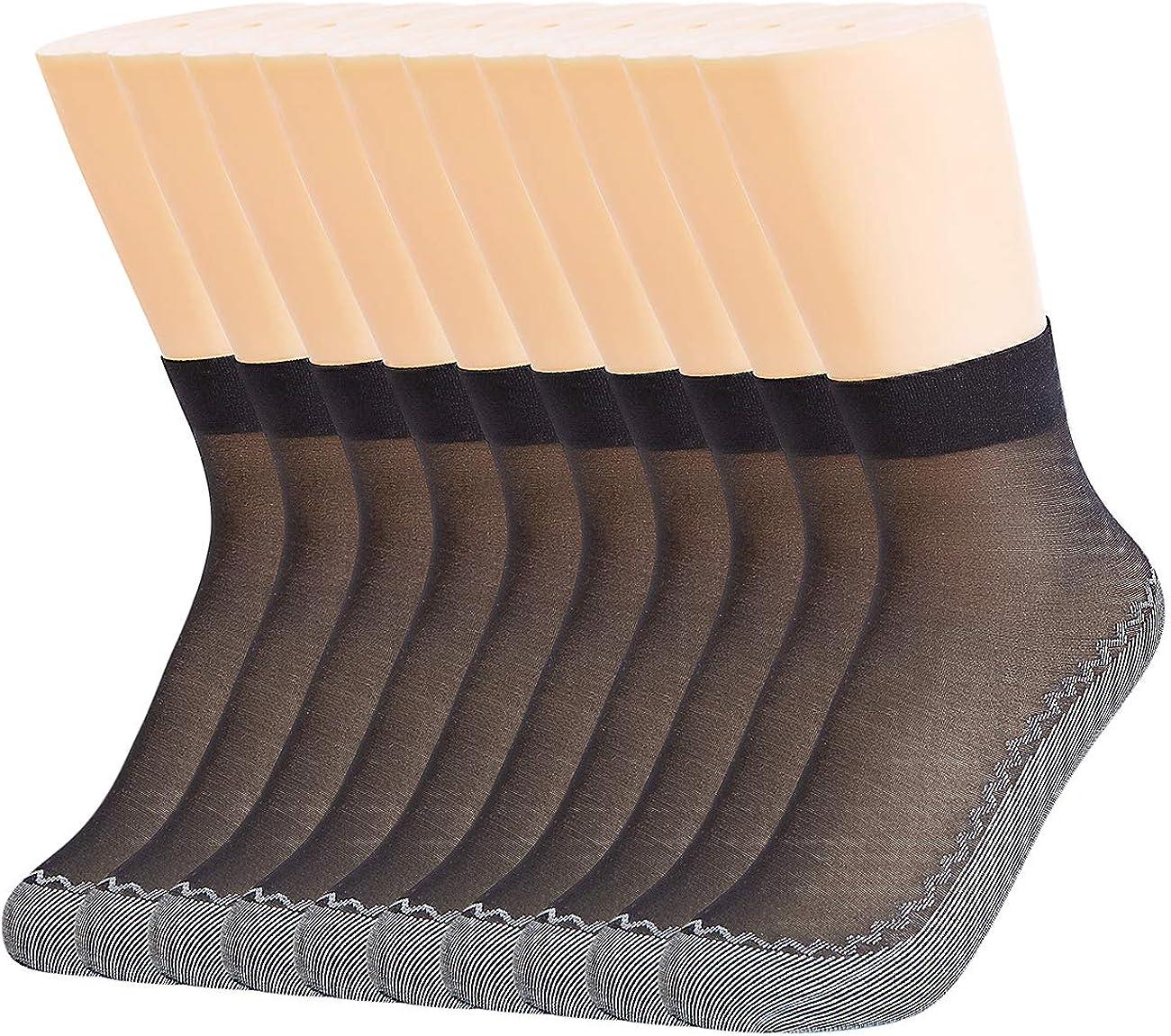 Azeho Women's Sheer Socks 12 Pairs Ankle High Crystal Silky Short Stockings Hosiery Everyday Reinforced Toe