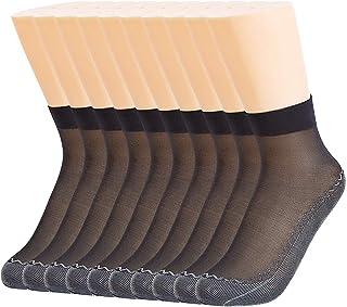 12 Pares Calcetines de Mujer Tobillo Alto Cristal Sedoso Medias Cortas Medias Dedo del Pie Reforzado Todos los Días