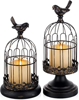 Romadedi Decorative Candle Holders for Pillar Candles - Set of 2 Cage Lanterns for Candlestick Holder Gothic Vintage Home ...