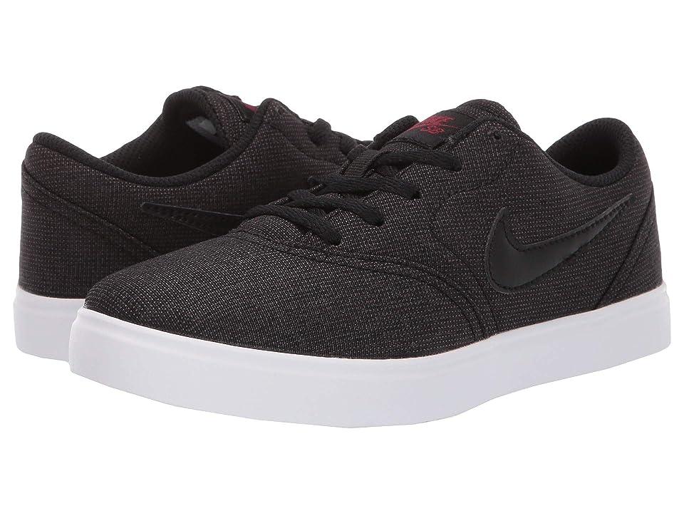 Nike SB Kids Check Canvas (Little Kid) (Black/Black/Team Red) Boys Shoes