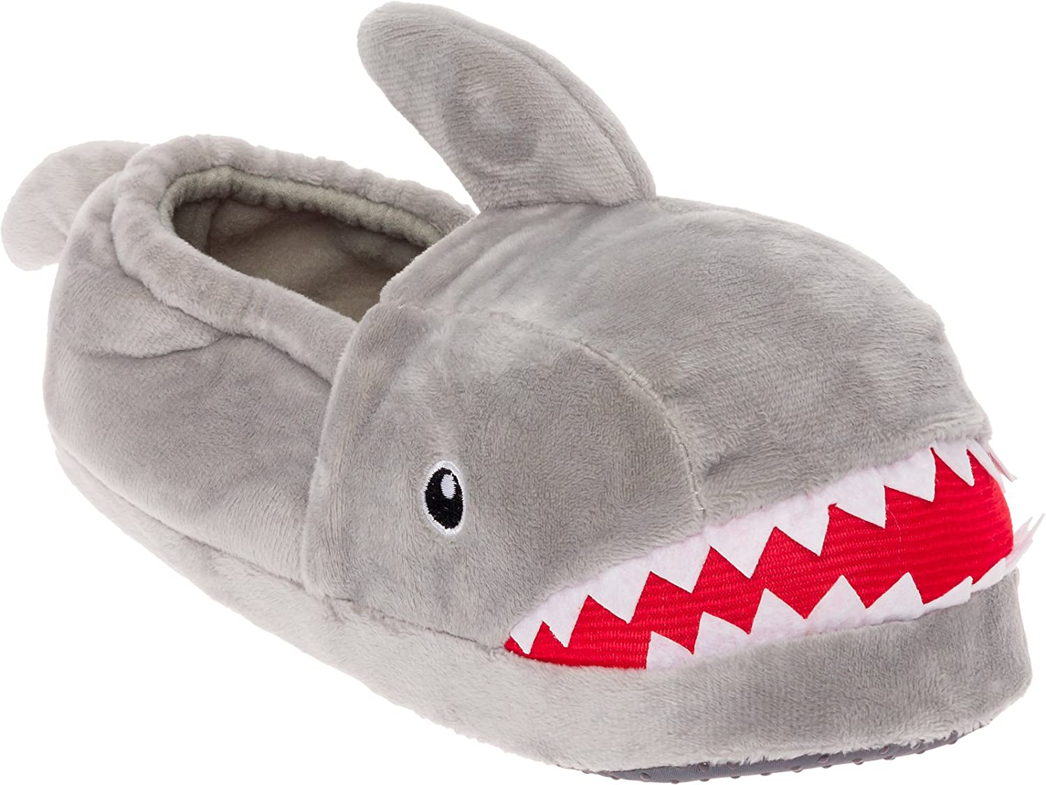 Silver Lilly Shark Plush Slippers - Novelty Animal Slippers w Foam Support Silver