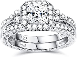 Sllaiss Sets with Swarovski Zirconia Sterling Silver Antique Ring for Women Princess-Cut CZ Wedding Band Set Size 4-9