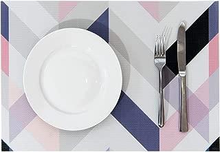 Sunshine Fashion Inc Colour Print Placemats,Placemats,Placemats Dining Table,Heat-Resistant Placemats, Stain Resistant Washable PVC Table Mats,Kitchen Table mats,Sets 4 (4, Geometry)