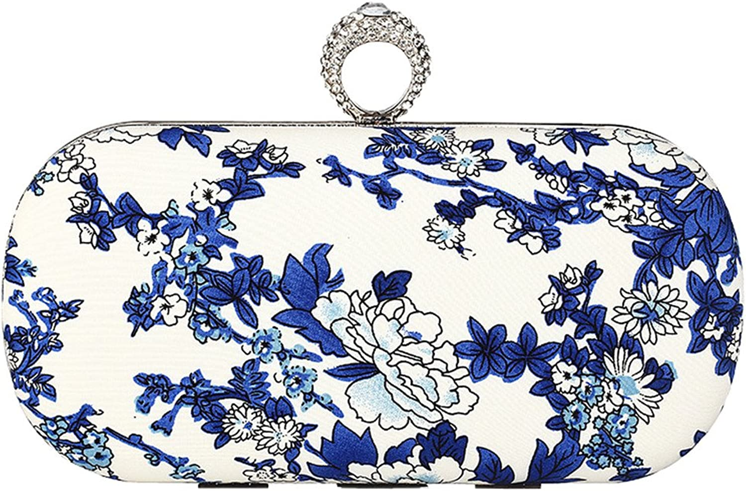 2017 Ring bluee White Porcelain Printed Evening Clutch Sparkly Beaded Finger Printed PU Leather Hardbox Bag