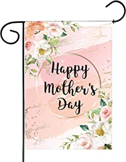 Funnytree Happy Mother's Day Garden Flag Mom Pink Floral Flower Outdoor Decor Festival Spring Yard Flags Farmhouse Decorat...