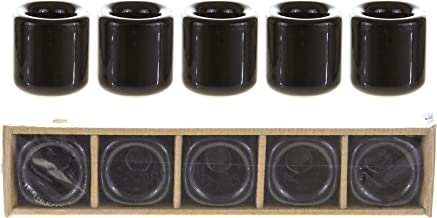 Mega Candles 5 pcs 7/8 Inch Diameter Black Ceramic Chime Ritual Spell Candle Holders, Great for Casting Chimes, Rituals, S...