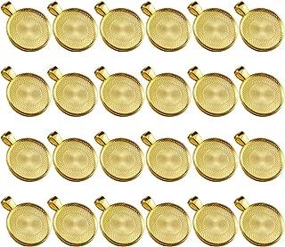Dcatcher 24 PCS Bezel Pendant Trays Round Cabochon Settings Trays Pendant Blanks, 25mm Diameter, Gold
