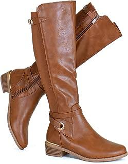 Guilty Heart Women Knee High Riding Low Chunky Heel Boots - Comfortable Side Zipper Buckle Biker Boots