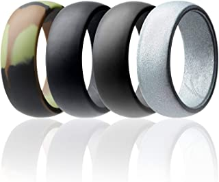 Silicone Wedding Ring for Men Affordable Silicone Rubber Band, 7 Pack, 4 Pack & Singles - Camo, Metal Look Silver, Black, Grey, Light Grey