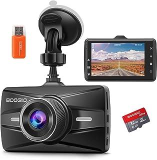 جلو جلو Cam با کارت SD 32G ، ضبط کننده رانندگی اتومبیل BOOGIIO 1080P FHD 3 اینچ صفحه نمایش 170 درجه دوربین زاویه باز دوربین آلومینیوم مورد ، آلیاژ آلومینیوم ، WDR تشخیص سنسور پارکینگ حلقه ضبط حرکت تشخیص