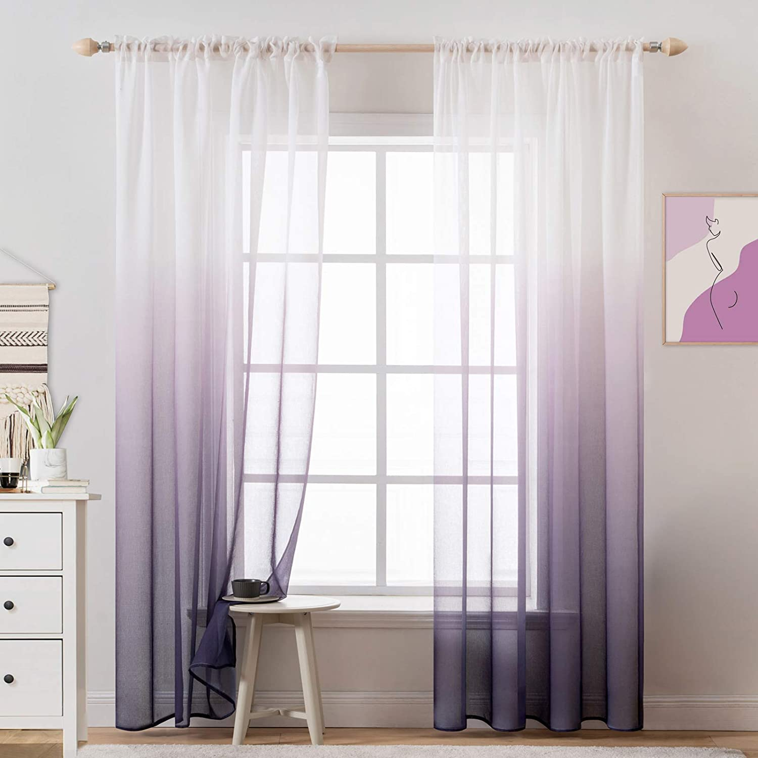 MIULEE Ombre Sheer Curtains Semi V Max 80% favorite OFF Transparent Window Treatments