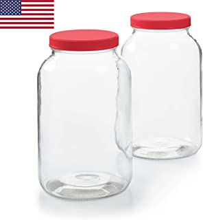 2 Pack - 1 Gallon Glass Jar w/Plastic Airtight Lid, Muslin Cloth, Rubber Band - Made in USA, Wide Mouth Easy to Clean - BPA Free - Kombucha, Kefir, Canning, Sun Tea, Fermentation, Food Storage
