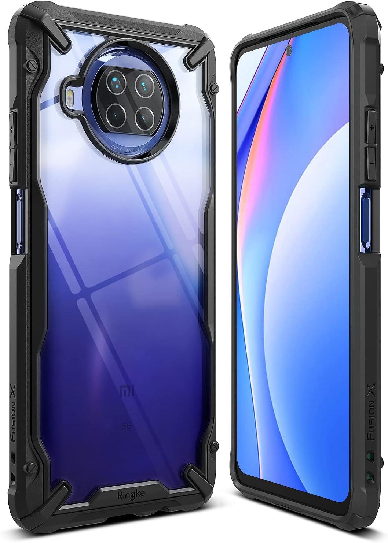 Ringke Fusion-X Compatible con Funda Xiaomi Mi 10T Lite 5G (6,67 Pulgadas), Compatible con Funda Xiaomi Mi 10i 5G, Transparente Rigida Carcasa Parachoque TPU Funda Negra - Black (Negro)