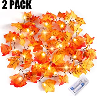 Severino Thanksgiving Decorations Lighted Fall Garland,Thankgiving Decor Waterproof Maple Leaf String Lights - 2 X 20 LED,16 Feet