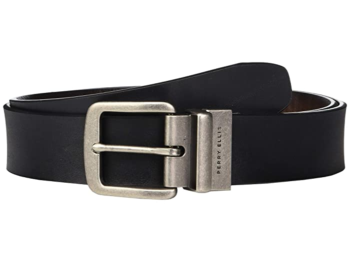 Perry Ellis Portfolio  38mm Cut Edge Reversible Casual Belt (Black) Mens Belts