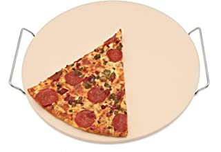 Homeworks Large Unglazed Ceramic Pizza Stone | Includes Metal Oven to Table Rack, Large 15 Inch Round Baking Stone, For Crispy Crust Pizza, Artisan Breads, Cookies and More