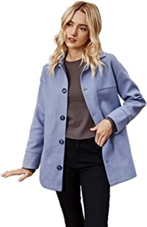$25 » Adreamess Women's Casual Long Sleeve Woolen Jacket Single Breasted Lapel Coat