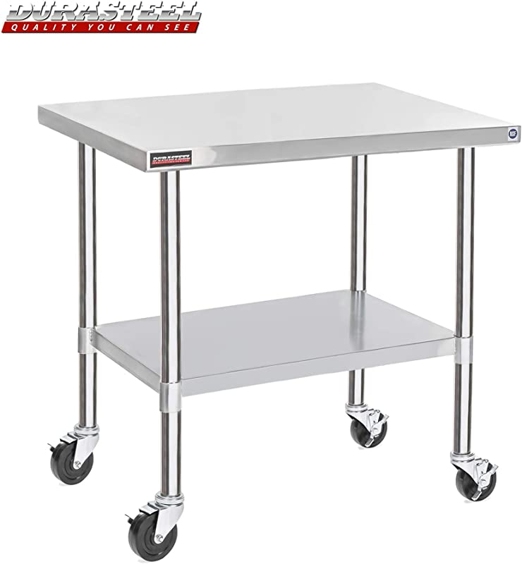 DuraSteel Stainless Steel Work Table 30 X 48 X 34 Height W 4 Caster Wheels Food Prep Commercial Grade Worktable NSF Certified Good For Restaurant Business Warehouse Home Kitchen Garage