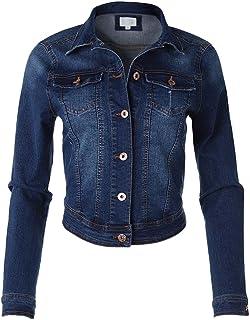 Dream Supply Women's Long Sleeve Crop Top Button Up Comfort Stretch Denim Jacket