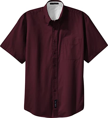 Port Authority - manche courte Easy voituree Shirt (S508), 5XL, Burgundy lumière Stone