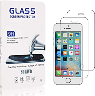 SONWO Ecran Protection pour iPhone 5C, HD 99% Transparent Verre Film Trempé pour iPhone 5C, Dureté 9H, Anti-Rayure, Sans B...