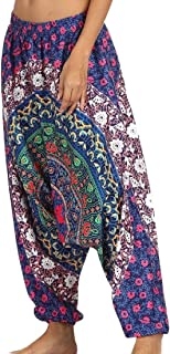 Macondoo Women Jogger Wide Leg Folk Style Drop Crotch Printed Pants Trousers