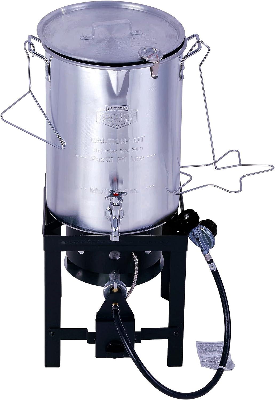 30QT Turkey Deep Fryer Kit Grill Steamer Stock Pot Propane LP Outdoor NEW