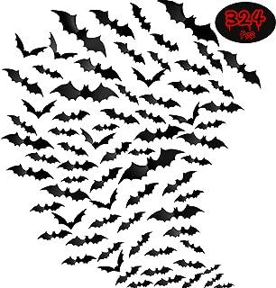 324 Pieces Halloween 3D Bat Scary Bats Wall Sticker Black Bat Wall Decal Waterproof Spooky Bats Craft Window Decor for Hal...