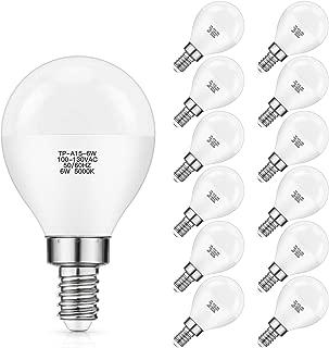 E12 LED Bulb 60W Equivalent, Daylight White 5000K Vanity Light Bulb, 6W A15 Candelabra Small Base Round Light Bulbs for Ceiling Fan, Bedroom, Living Room, G45 Shape CRI 85+, Non-Dimmable, Pack of 12