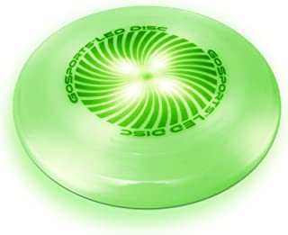 GoSports LED Light Up Flying Ultimate Disc, 175 grams, with 4 Glow in the Dark LEDs (Blue, Red, White or Green)
