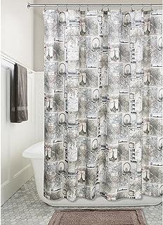 "iDesign Paris Soft Fabric Shower Curtain - 72"" x 72"", Cafe,58020"