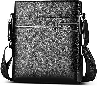 LAORENTOU Men's Genuine Leather Shoulder Bag, Business Crossbody Bag for Men