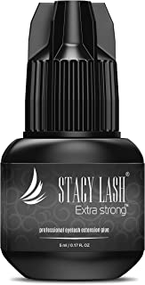 EXTRA STRONG Eyelash Extension Glue - Stacy Lash 5 ml / 1 Sec Drying time/Retention – 7 weeks/Maximum Bonding Power/Professional Use Only Black Adhesive/for Semi-Permanent Extensions Supplies