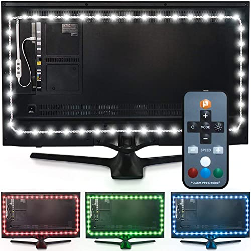 """Power Practical Luminoodle Color Bias Lighting, TV Backlight, Home Theater Ambient Light Kit - USB LED Strip with Remote, Dimmer for 30"""" - 40"""" TV - Large (9.8 feet) product image"""
