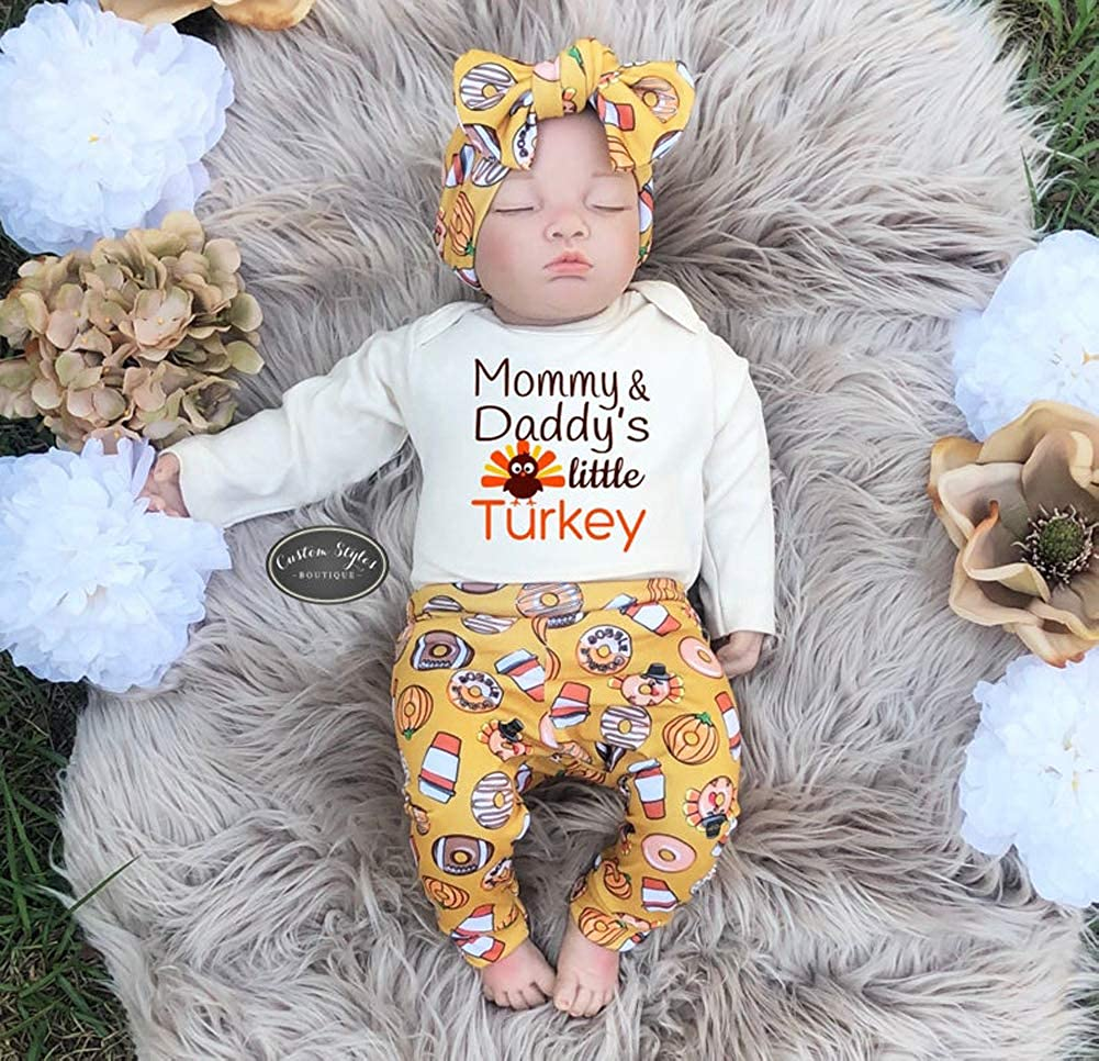 Baby Boy Girl Thanksgiving Outfit My 1st Thanksgiving Romper Tukey Bodysuit Top Pants Headband Hat 3PCS Clothes Set