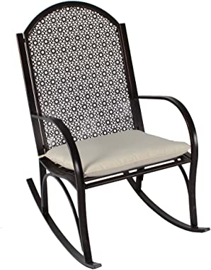 Tortuga Outdoor Oiled Copper Finished Metal Garden Rocking Chair with Cushion