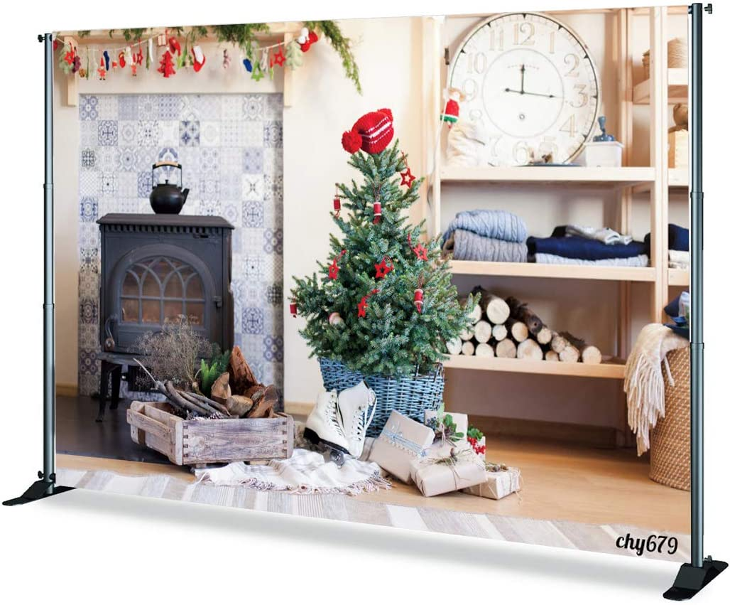 Levoo Flannel Fireplace Christmas Tree Background Banner Photography Studio Child Baby Birthday Family Party Christmas Holiday Celebration Photography Backdrop Home Decoration 5x5ft,chy680
