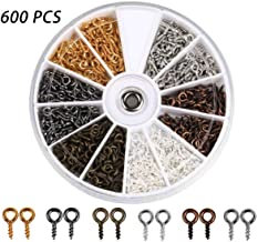 Coolrunner 600Pcs(6 Colors) Small Screw Eye Pins, Eye pins Hooks, Eyelets Screw Threaded Silver Clasps Hooks Eye Screws for Jewelry Making(600 Pcs Eye Pins)