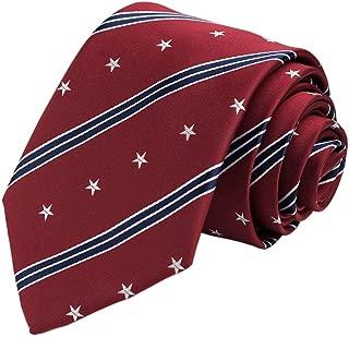 KissTies 100% Silk Tie US Flag Patriotic Necktie + Pocket Square + Magnetic Box