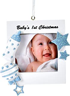 Gift Boutique Baby's First Christmas Ornament 2019 Blue Boy Baby Photo Picture Frame DIY Personalized for Holiday Newborn Infant Keepsake Ceramic with Hanging Ribbon