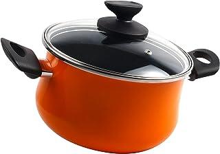 Magefesa Olla 20 cm ,cazuela acero color naranja, válido inducción