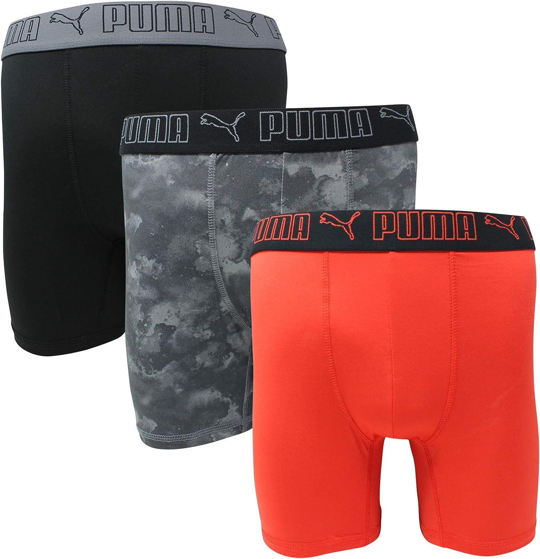 PUMA Men's 3 Pack Tech Boxer Brief (Medium, Red/Grey (Sportstyle))