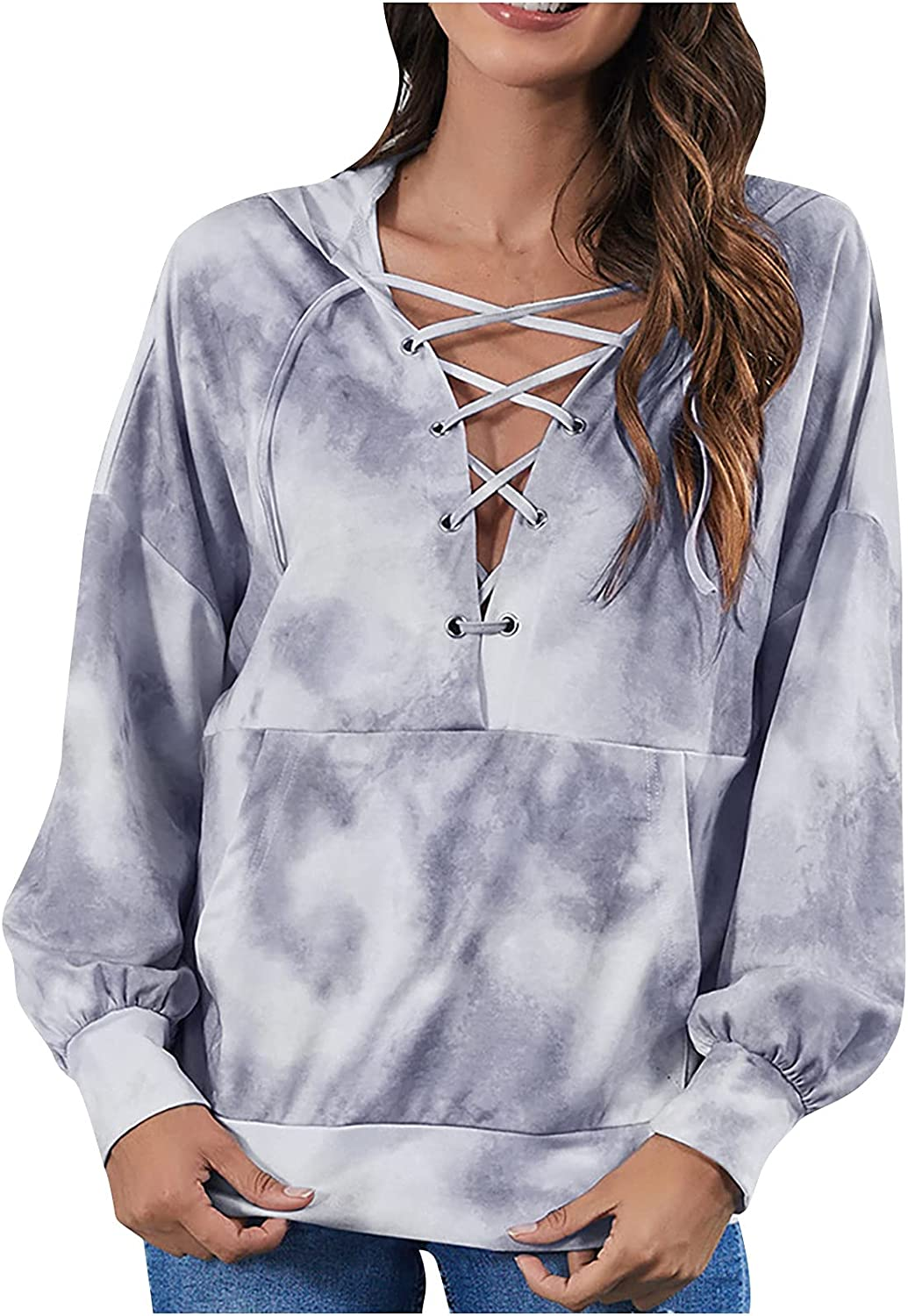 Women's Hoodies Tops Sexy Adjustable Strappy V-Neck Pullover Tie-Dye Print Pocket Sweater Casual Fashion Blouse