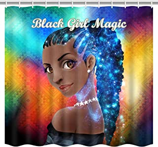 ArtRena Afrocentric Fabric Shower Curtain, Dark-Skinned, Black Woman with Ponytail, Black Girl Magic, Waterproof, 71