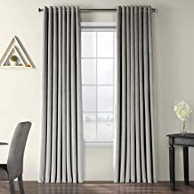 HPD HALF PRICE DRAPES VPCH-VET1213-84-GR Extra Wide Grommet Blackout Velvet Curtain, Silver Grey, 100 x 84