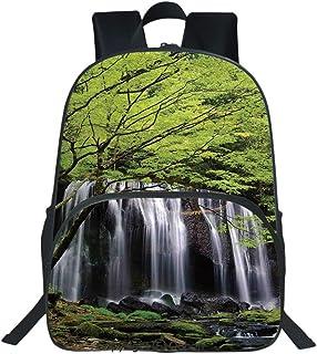 Oobon Kids Toddler School Waterproof 3D Cartoon Backpack, Multiple Waterfalls Surrounded by Black Rocks and Green Trees, Fits 14 Inch Laptop