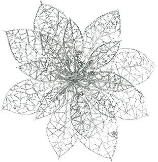 XmasExp 10 Pcs Glitzy Poinsettia Bushes,Glitter Silver Poinsettia Christmas Tree Ornaments