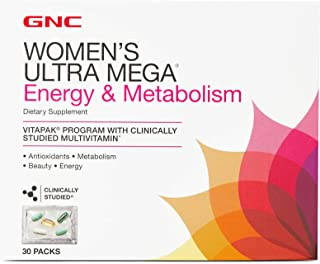 GNC Women's Ultra Mega Energy & Metabolism Vitapak, 30 Packs, Supports Energy Production and Metabolism